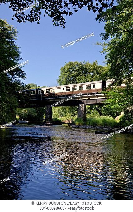 England Devon South Devon Railway Steam hauled train crossing the River Dart near Buckfastleigh