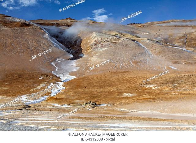 Volcanic landscape, Namafjall ridge in winter, in Reykjahlid, Myvatn area, North Iceland, Iceland