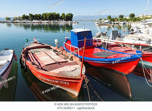 Nea Anchialos, Thessaly, Greece. Typical fishing boats in the port