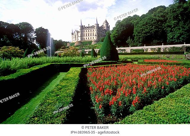 Dunrobin Castle, the stately home with its fine gardens in Sutherland north of the coastal village of Golspie