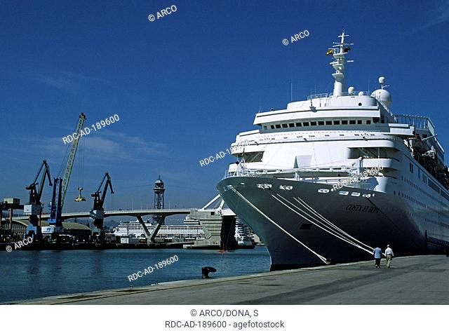 Cruise ship 'Costa Europa', harbour of Barcelona, Catalonia, Spain