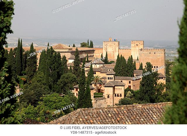 Panoramic view of the Alhambra of Granada, Andalusia, Spain