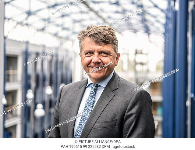 08 May 2019, Hessen, Frankfurt/Main: Stephan Sturm, Chairman of the Management Board of Fresenius SE, is located in the atrium of the company's headquarters