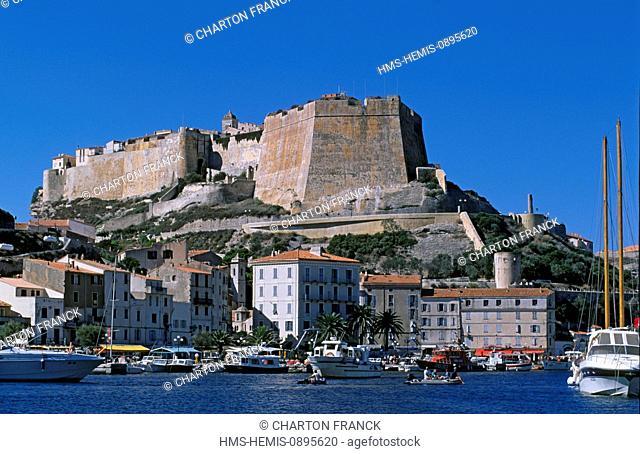 France, Corse du Sud, Bonifacio, harbour and citadel