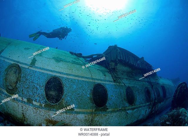 Diver at Airplane Wreck, Caribbean Sea, Netherland Antilles, Curacao