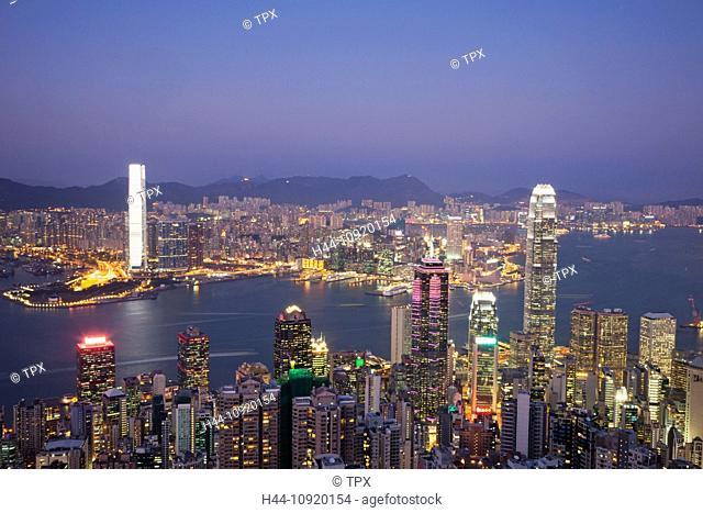 Asia, China, Hong Kong, Victoria Peak, View, Peak, Victoria Harbour, Harbour, Skyscrapers, Modern, Buildings, City, Skyline, Aerial, Aerial View, Night, View
