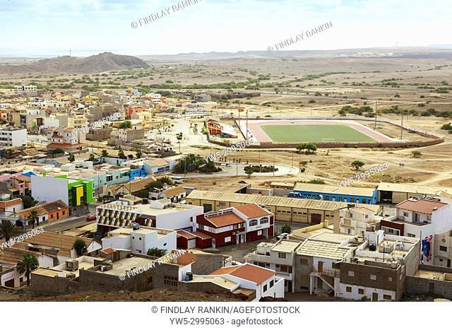High view southwards over Espargos, the Capital of Cape Verde towards the local football pitch and Mirador, Sal Island, Salinas, Cape Verde, Africa