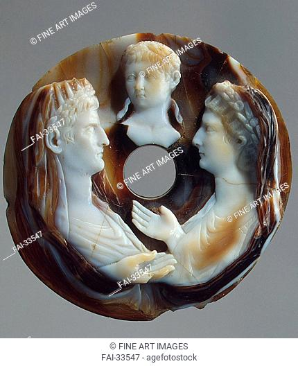 Augustus, Livia and Young Nero by Master Skylax (Mid 1st century)/Sardonyx/Art of Ancient Rome/Mid of 1st century/State Hermitage, St