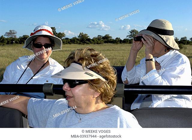 Africa, Botswana, safari, jeep, women, three, game-observation, vacation, trip, adventures, experience, adventuresomely, Wildlife, people, pensioners, seniors