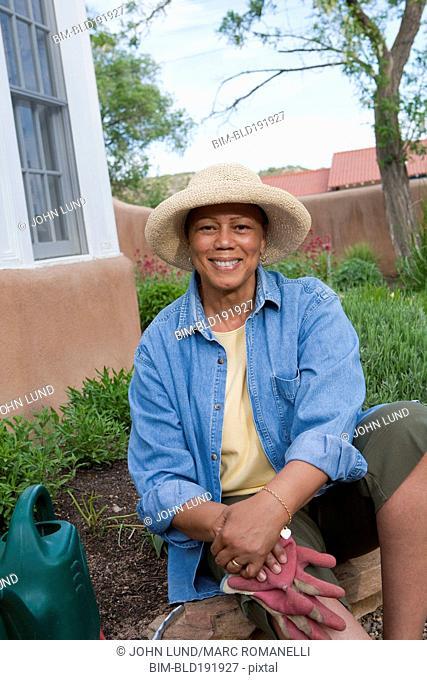 African woman working in garden