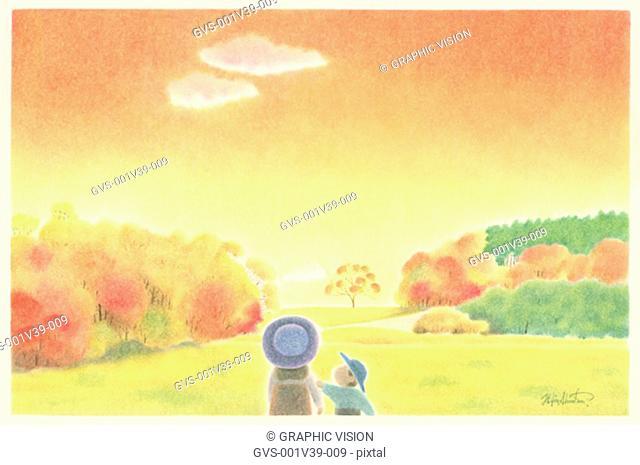 Illustration of Two Children Walking in Field in Autumn