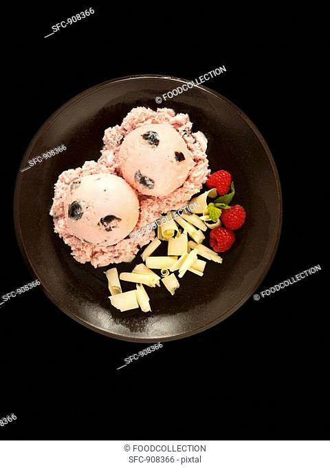 Black Cherry Ice Cream with White Chocolate Shavings and Raspberries