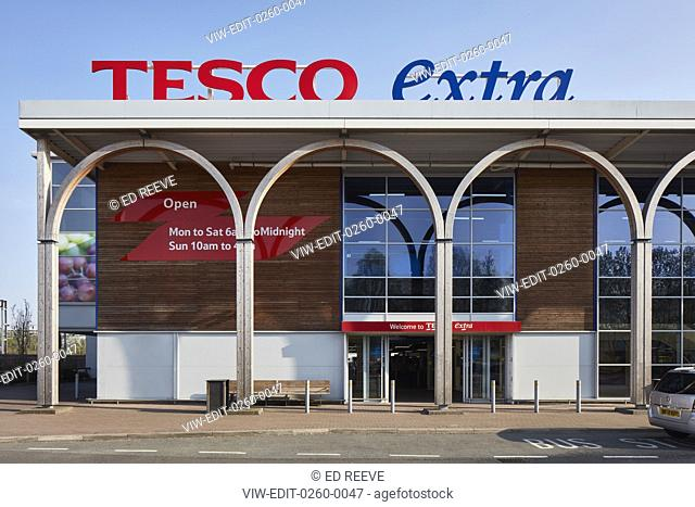 Elevation of entrance facade. Tesco Extra, Crewe, Crewe, United Kingdom. Architect: N/A, 2018