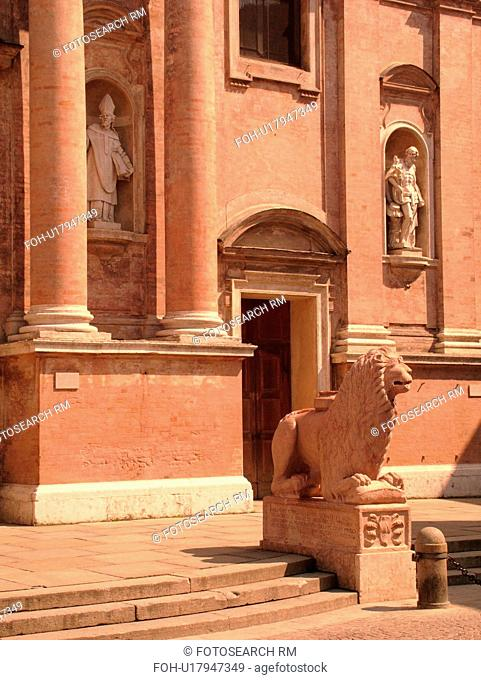 church, Emilia-Romagna, Italy, Reggio nell'Emilia, Europe, Red marble lion statues guard the15th-century Chiesa di San Prospero in the town of Reggio Emilia