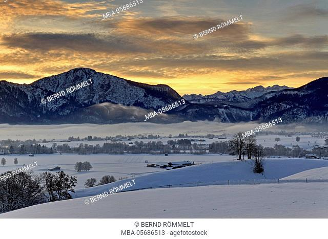 Germany, Bavaria, Upper Bavaria, Tölzer country, Bavarian alps, view about the Kochelmoos, Kochler moss, Kochler Moore on Jochberg, boiler mountain, Karwendel