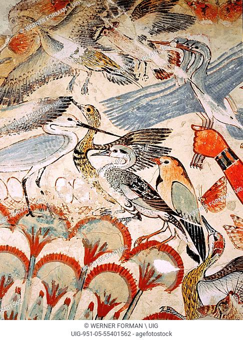 A detail of a painting from the tomb of Nebamun showing him standing on a reed boat hunting birds in the papyrus marshes using throwsticks and three decoy...