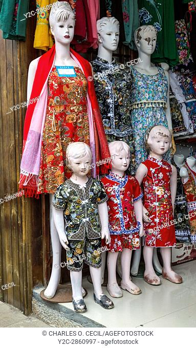 Guizhou Province, China. Dress Shop Manikins, Souvenir and Gift Shop Area, Yellow Fruit Tree (Huangguoshu) Waterfall Scenic Area