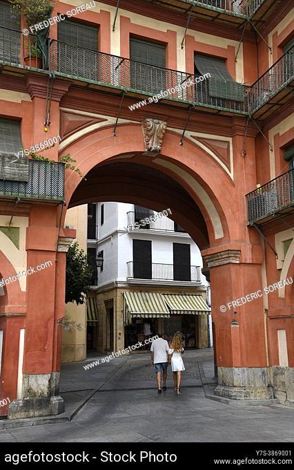 Plaza de la Corredera in the center of Cordoba old town , Andalusia, Spain
