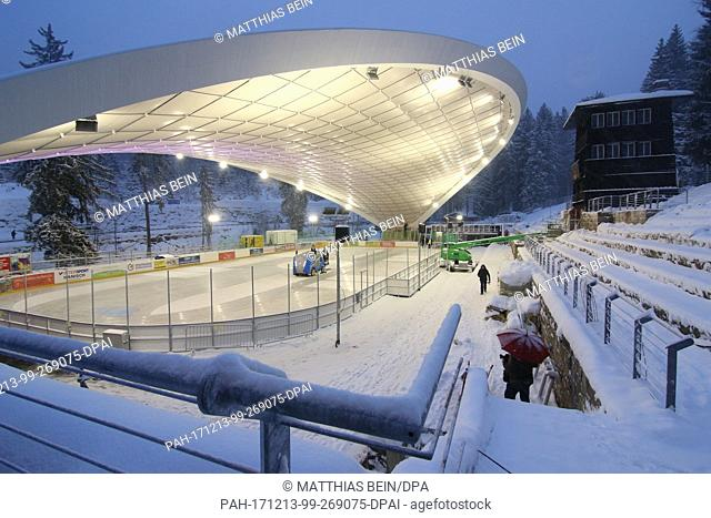 The converted ice stadium shines bright in Schierke, Germany, 13 December 2017. The stadium is to be installed on Friday (15 Decemebr 2017)
