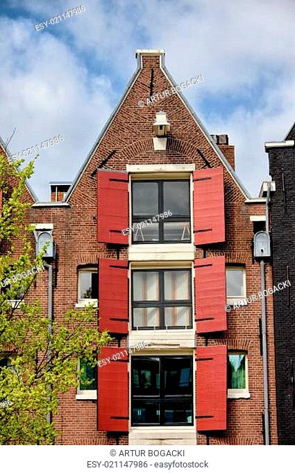 Old House in Amsterdam with Triangular Gable
