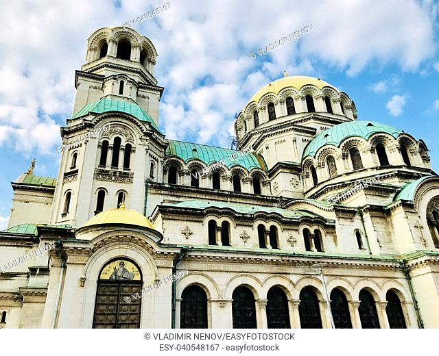 SOFIA, BULGARIA - JULY 01, 2018: The St. Alexander Nevsky Cathedral is a Bulgarian Orthodox cathedral in Sofia, the capital of Bulgaria