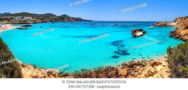 Ibiza Cala Tarida beach in Sant Josep of Balearic Islands
