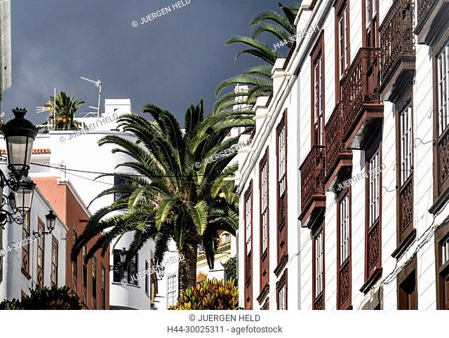 Traditional row houses with balconies,La Palma, Canary Islands, Spain