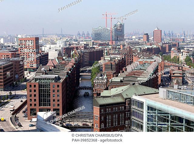 The historic Speicherstadt in HafenCity with the Elbe Philharmonic Hall is pictured from a tethered hot-air balloon in Hamburg, Germany, 28May 2013