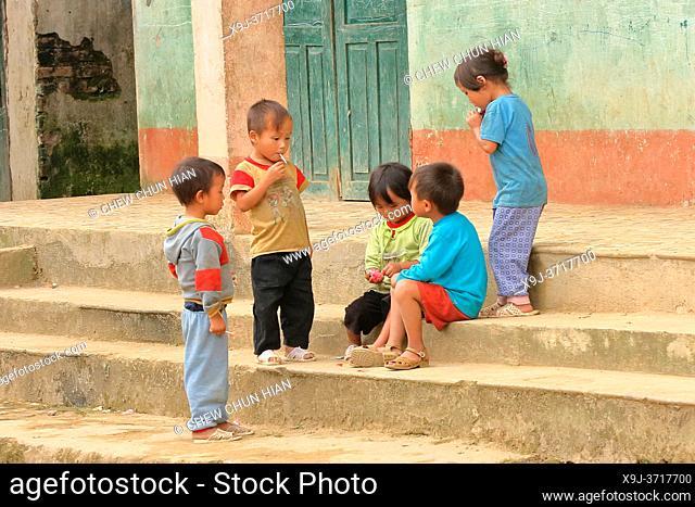 Children playing in the village of Lao Chai near Sapa, Vietnam, Asia