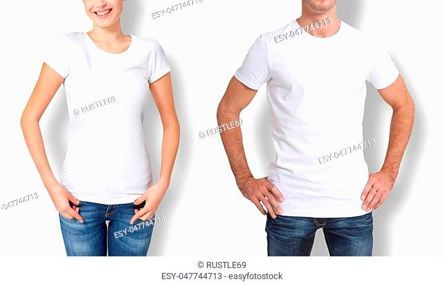 Shirt design and people concept - close up of young man and woman in blank white t-shirt front and rear isolated
