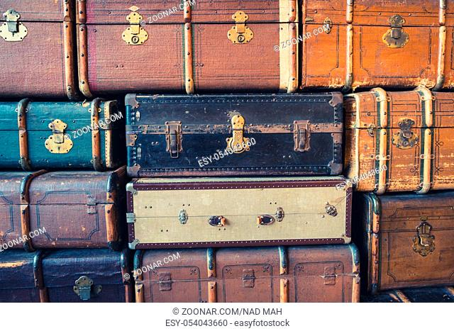 stack of vintage suitcases - stack of old retro suitcases