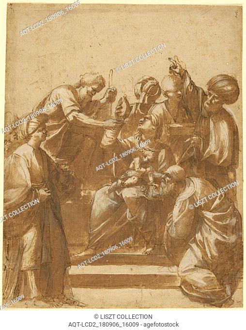 Adoration of the Magi; Attributed to Jusepe de Ribera (Spanish , Italian, 1591 - 1652); Spain; about 1620; Pen and brown ink with a wash over black chalk