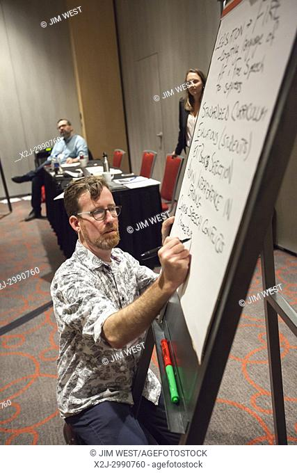 Detroit, Michigan - Members of the American Federation of Teachers discuss issues facing university and college teachers in a workshop during the AFT's Higher...