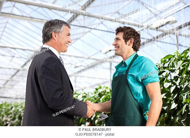 Businessman and gardener shaking hands