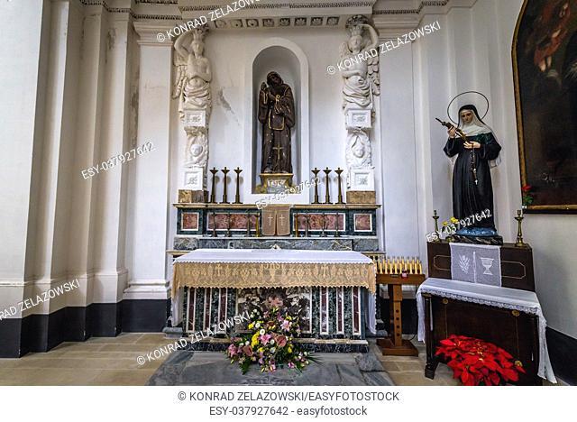 Side altar of Church of Saint Philip Apostle (Chiesa di san Filippo Apostolo) on Ortygia island, historical part of Syracuse, Sicily Island, Italy