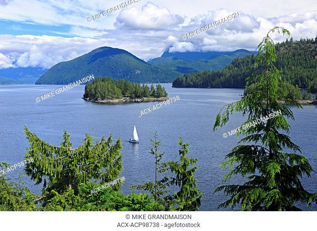 Sailboat on the Jervis Inlet (Sunshine Coast) Egmont British Columbia Canada