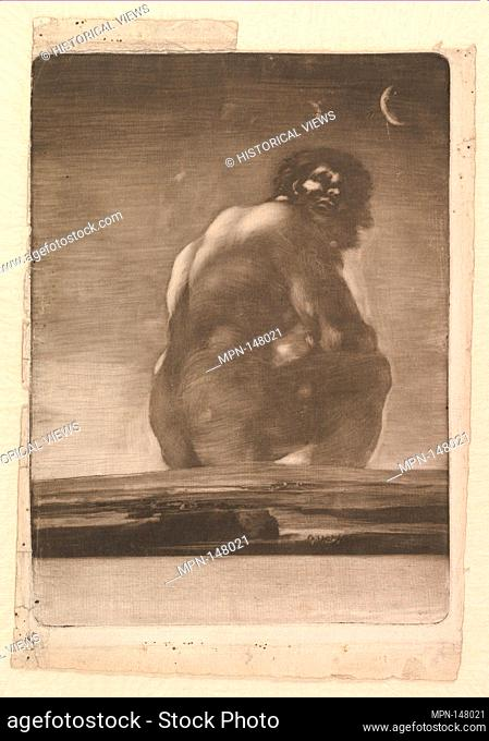 A Giant Seated in a Landscape, sometimes called 'The Colossus'. Artist: Goya (Francisco de Goya y Lucientes) (Spanish, Fuendetodos 1746-1828 Bordeaux); Date: by...