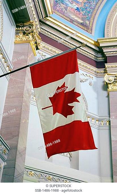 Canada, British Columbia, Victoria, Canadian flag in Parliament Building