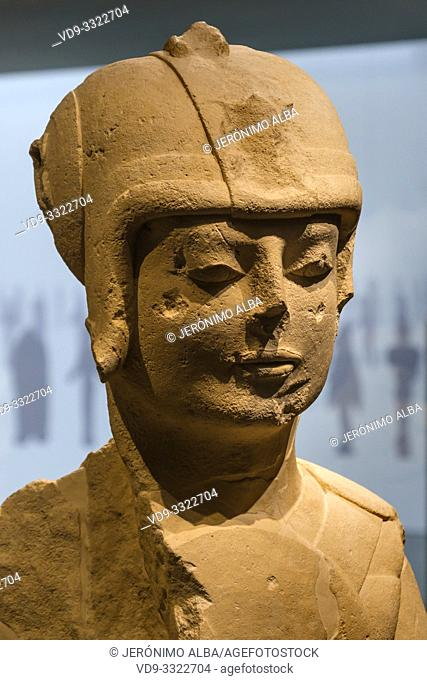 The prince, warrior of double armor. Iberian sculpture, Cerrillo Blanco archaeological site at Porcuna. The Iberian Museum. Jaén, southern Andalusia
