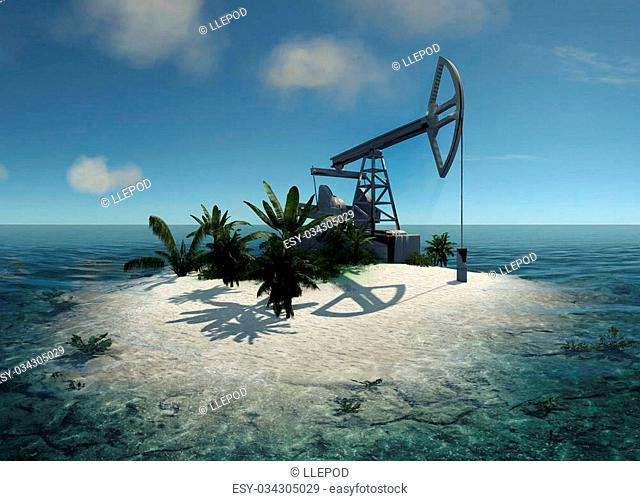 Island in the ocean and the oil pump