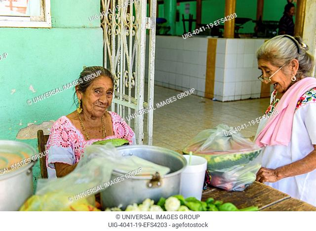 Mayan sellers in the central market in Acanceh, Yucatan state, Mexico
