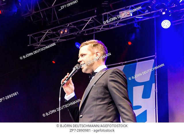 KIEL, GERMANY - June 21 2017: The Jazz Singer Tom Gaebel on the Rathaus Stage during the Kieler Woche 2017