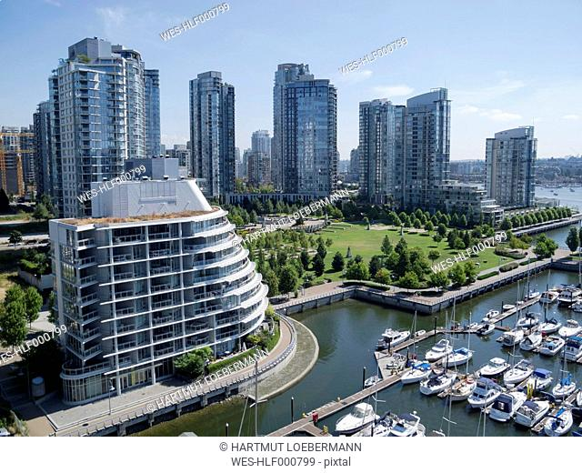 Canada, British Columbia, Vancouver, view from Lookout Tower to skyscrapers, city park and marina in the foreground