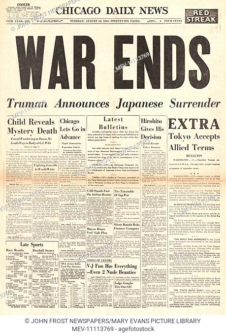 1945 Chicago Daily News front page reporting Japan accepts complete surrender and the Second World War is over