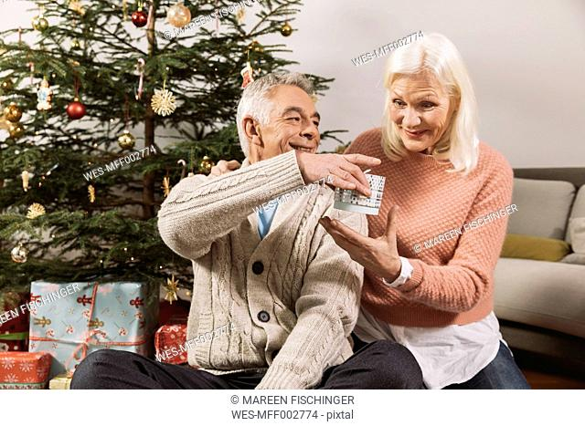 Senior couple exchanging Christmas gifts in front of tree