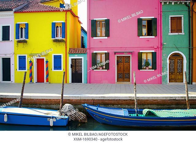 Street and houses  Burano island  Venice, Italy