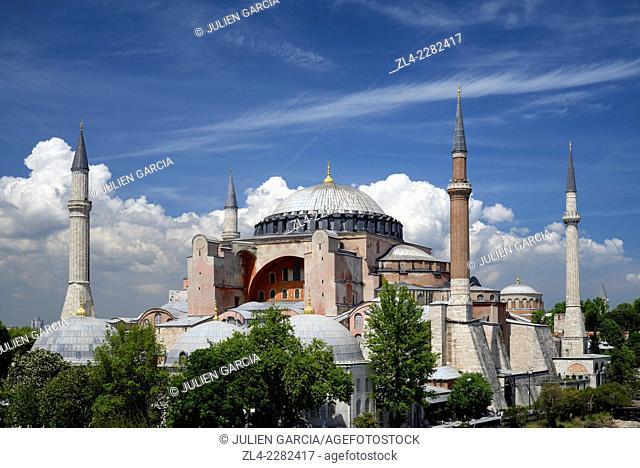 The Aya Sofya (Hagia Sophia) a former basilica (church) and mosque. Turkey, Istanbul, Sultanahmet district