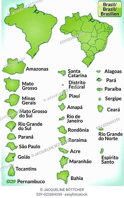 Karte von Brasilien mit Grenzen in Grün