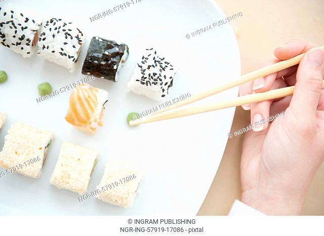 Aerial closeup of a sushi platter