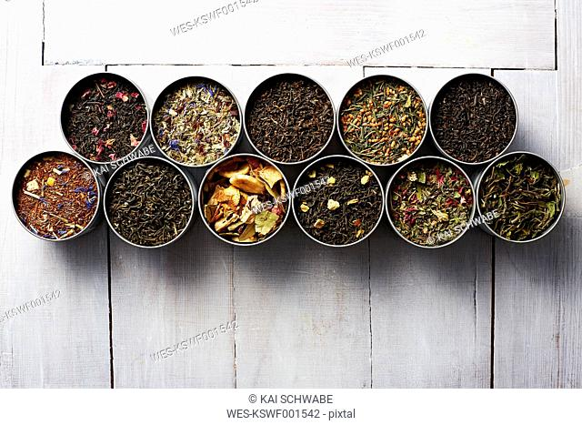 Tins of different sorts of tea